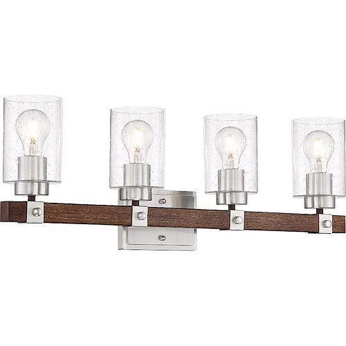 Filament Design Applique de salle de bain à 4 ampoules au fini nickel brossé et noix de muscade