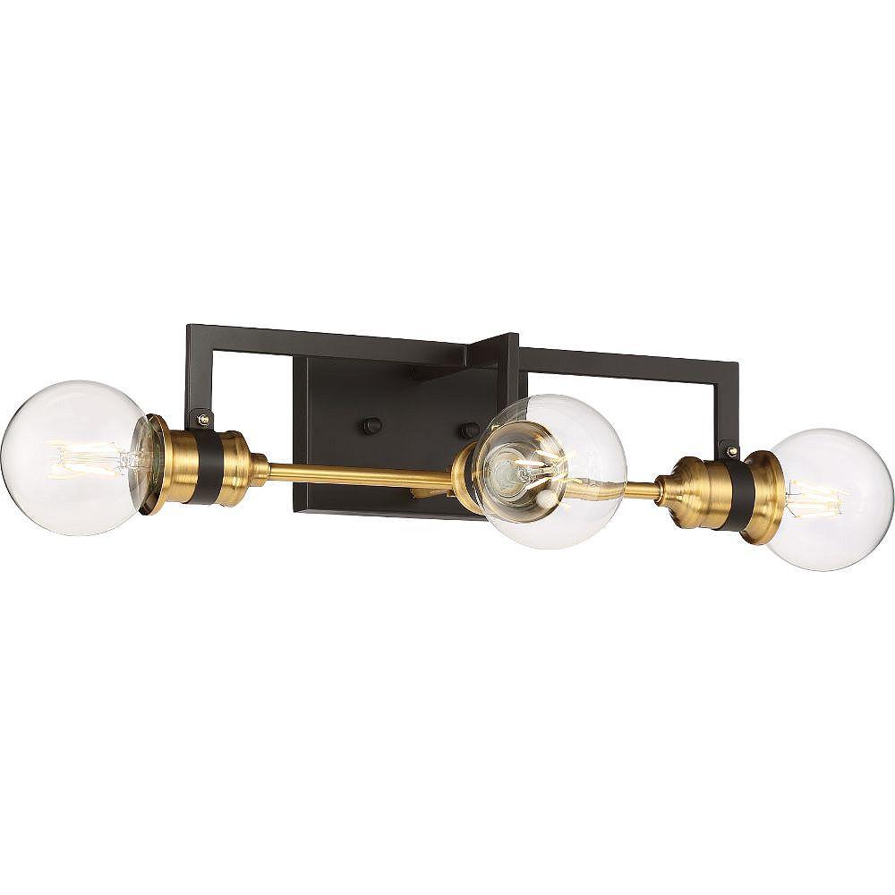 Filament Design Luminaire de salle de bain à 3 ampoules en laiton chaud et noir