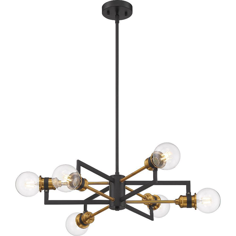 Filament Design 6-Light Warm Brass and Black Chandelier