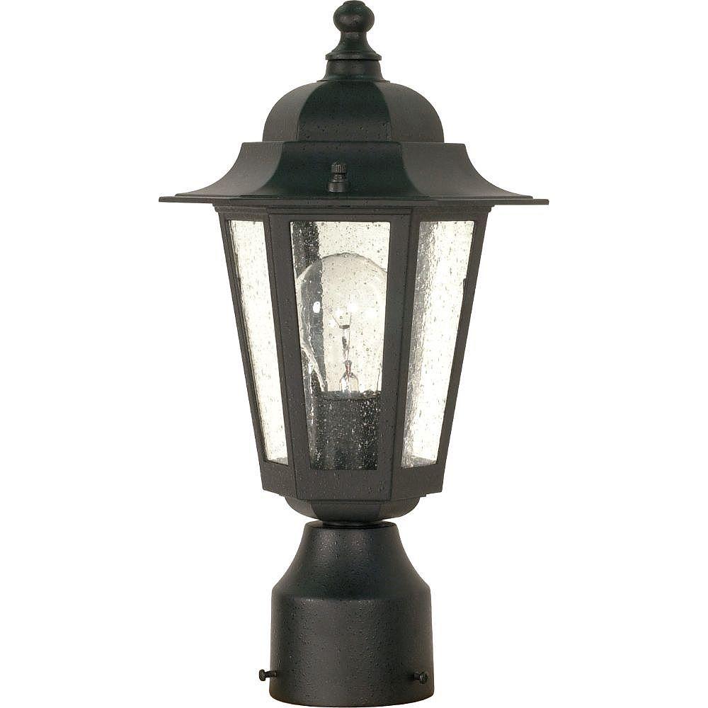 Filament Design 1-Light Textured Black Outdoor Post Lantern - 7 inch