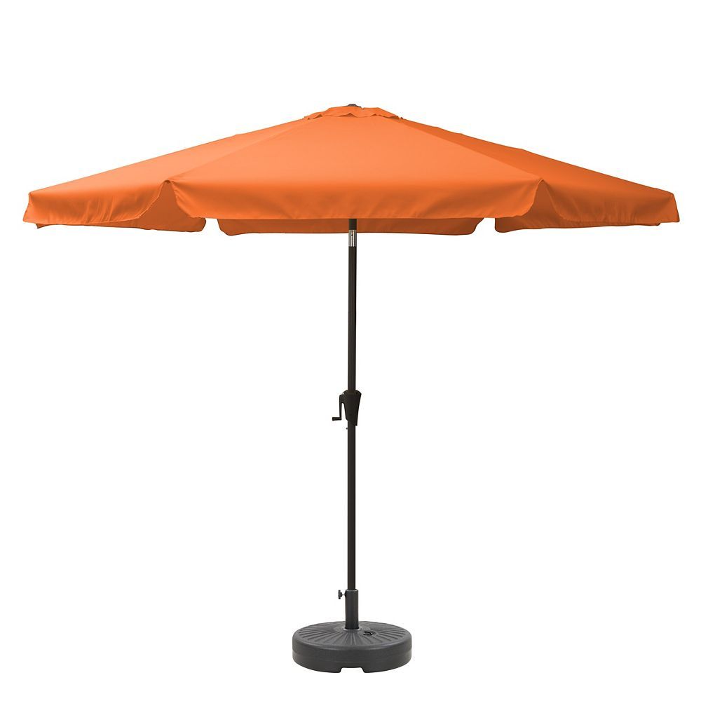 Corliving CorLiving PPU-201-Z1 10ft Round Tilting Orange Patio Umbrella and Round Umbrella Base