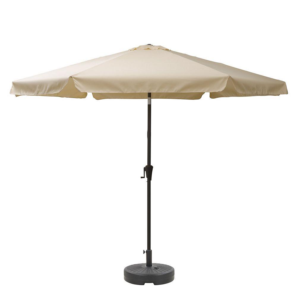 Corliving CorLiving Parapluie de patio blanc chaud inclinable de 10 pieds et base de parapluie ronde