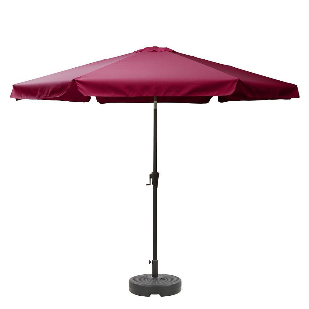 Corliving CorLiving Parapluie de patio rouge et base de parapluie rond de 10 pieds à inclinaison ronde