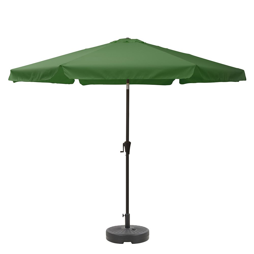 Corliving CorLiving PPU-270-Z1 10ft Round Tilting Forest Green Patio Umbrella and Round Umbrella Base