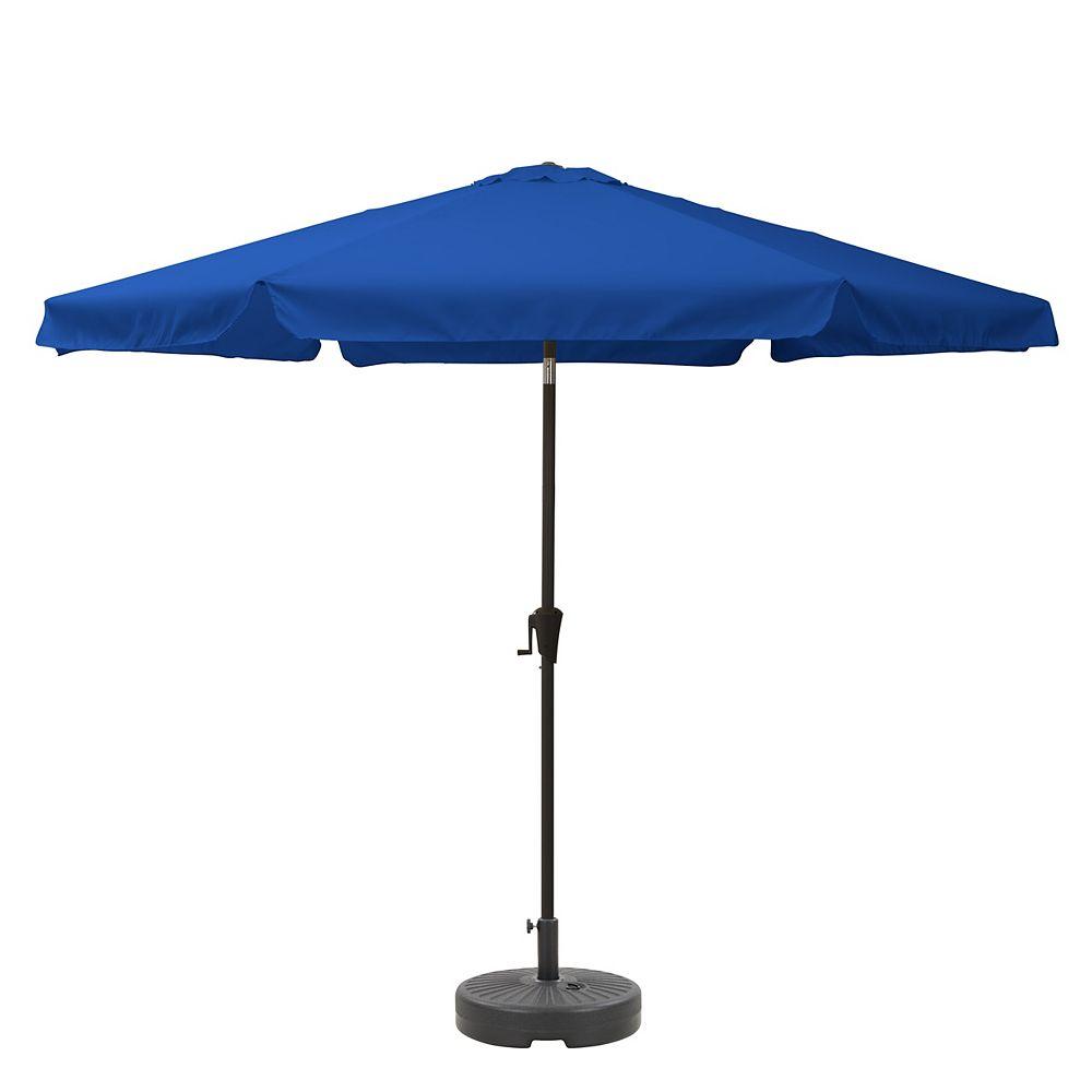 Corliving CorLiving PPU-290-Z1 10ft Round Tilting Cobalt Blue Patio Umbrella and Round Umbrella Base