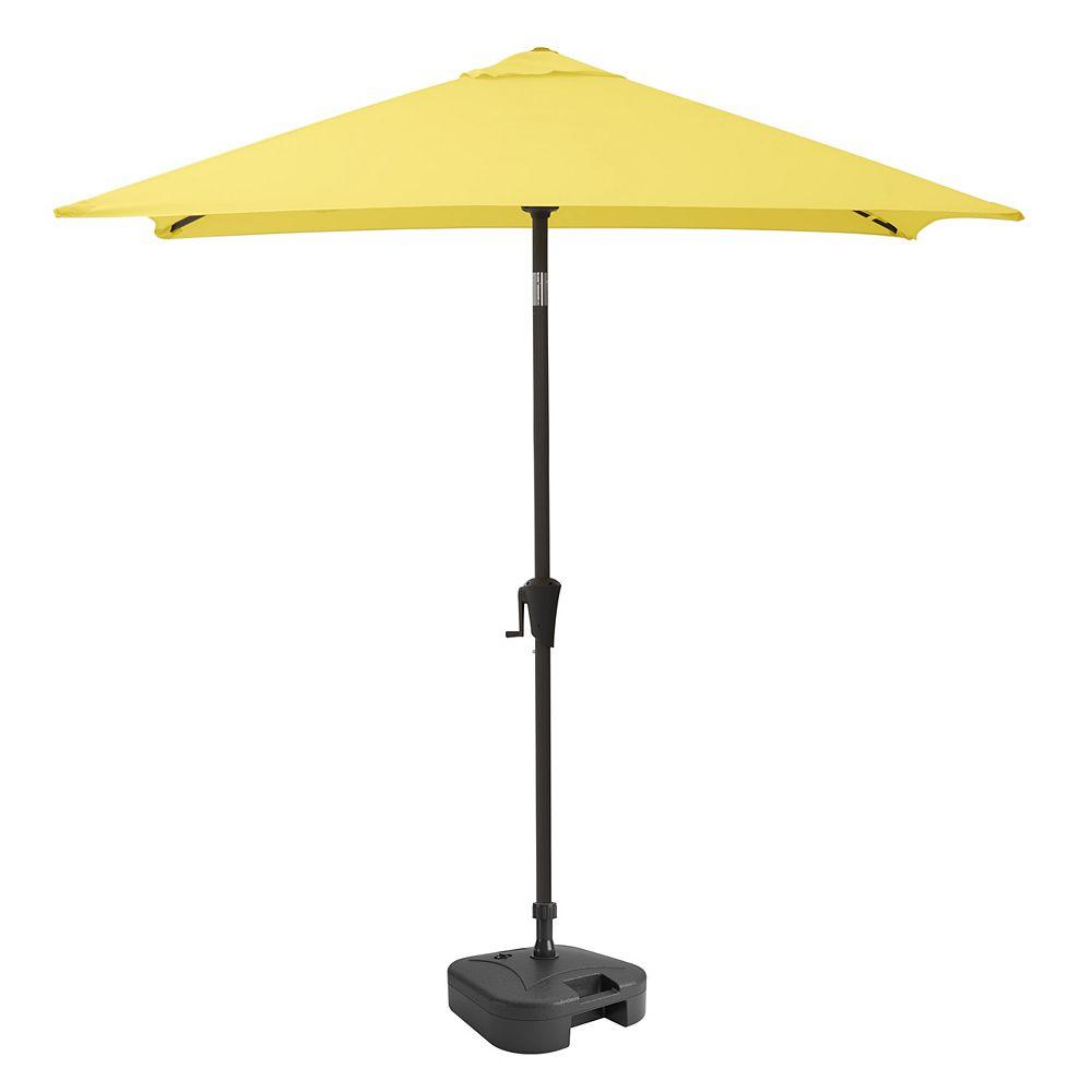 Corliving Square Tilting Yellow Patio Umbrella with Umbrella Base