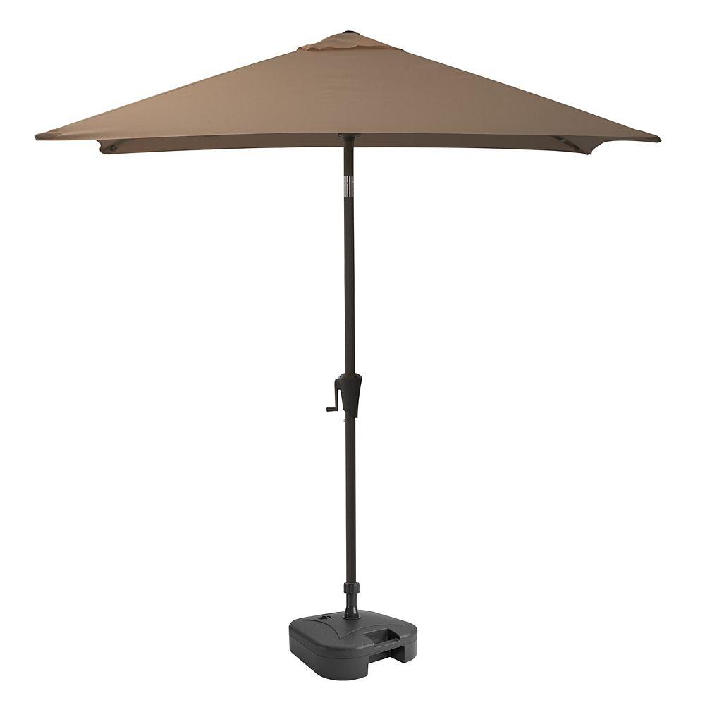 Corliving Parasol de patio carré et inclinable marron sable avec base