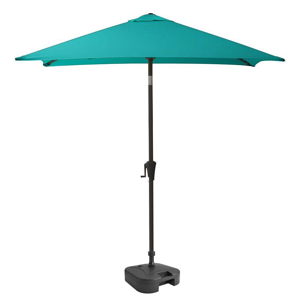 Corliving Parasol de patio carré et inclinable bleu turquoise avec base