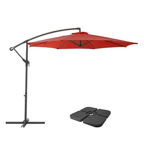 CorLiving Parapluie de patio et base de patio rouge cramoisi résistant aux UV de 9,5 pieds
