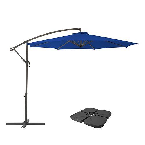 CorLiving PPU-490-Z1 Parapluie de patio et base de patio bleu cobalt résistant aux UV de 9,5 pieds
