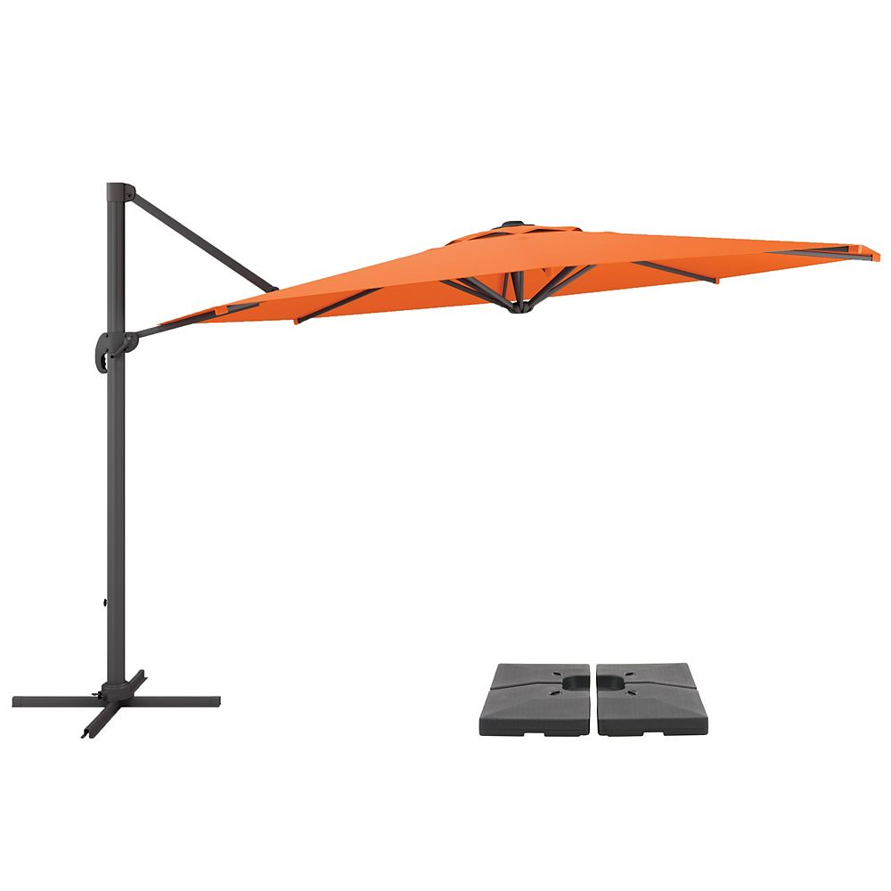 Corliving CorLiving PPU-501-Z1 11.5ft UV Resistant Deluxe Offset Orange Patio Umbrella and Base