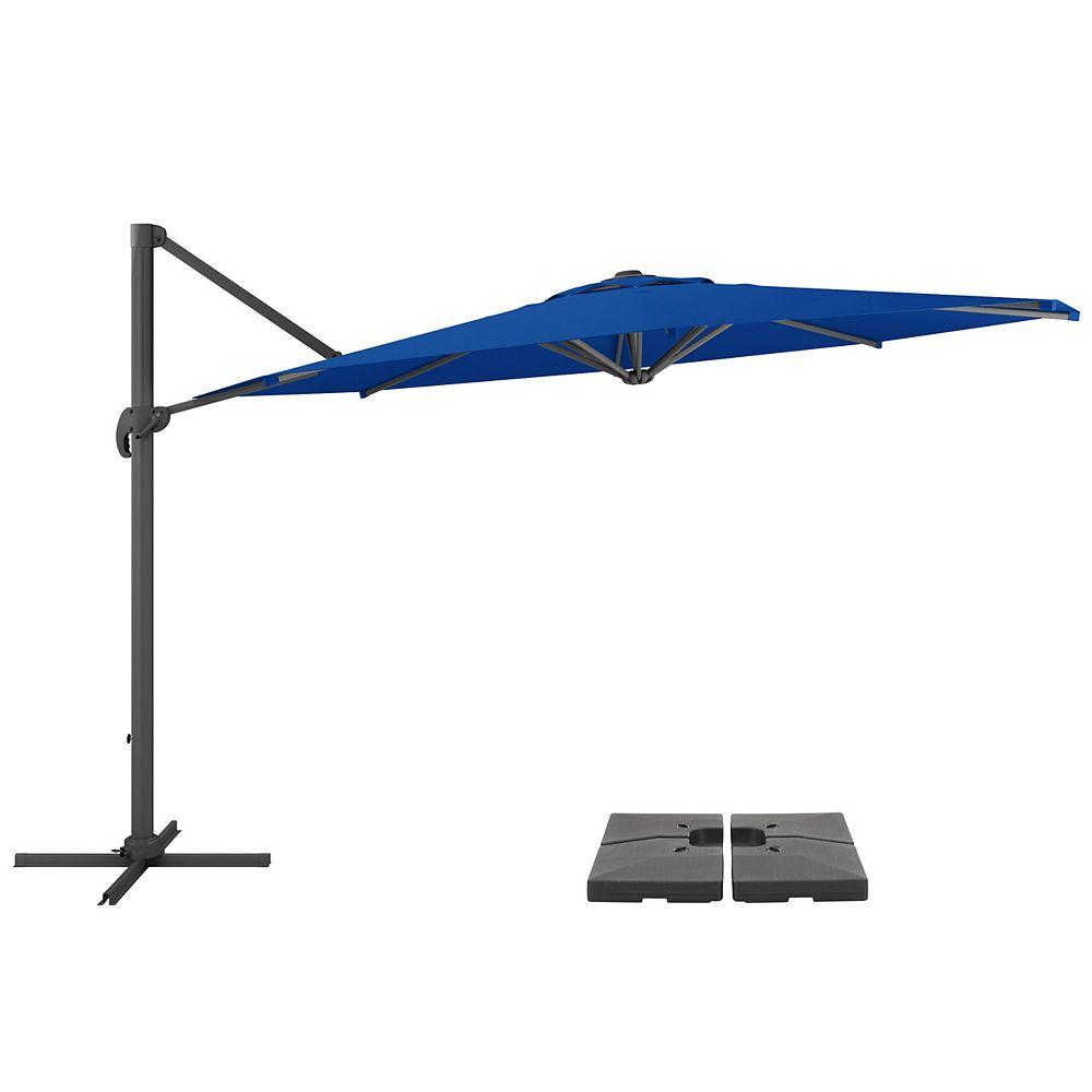 Corliving CorLiving Parapluie et base de patio bleu cobalt de luxe, résistant aux UV et décalé de 11,5 pieds