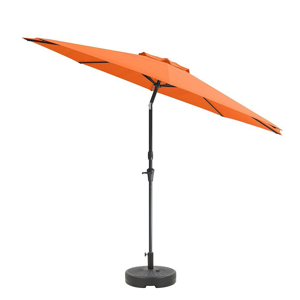 Corliving CorLiving Parapluie et socle de patio orange inclinable de 10 pieds résistant aux UV et au vent