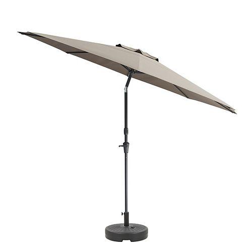 CorLiving Parapluie et base de patio gris sable basculant de 10 ' résistant aux UV et auvent