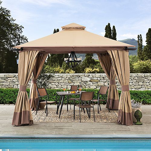 Francoise 12 ft. x 12 ft. Tan and Brown Steel Gazebo with 2-Tier Hip Roof