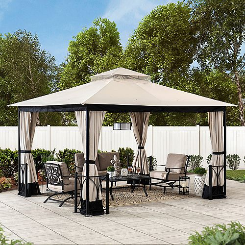 Delaware 10 ft. x 12 ft. Beige and Black Steel Gazebo with 2-Tier Hip Roof