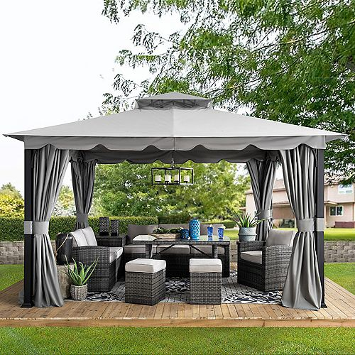 Athenea 10 ft. x 11 ft. Gray Steel Gazebo with 2-Tier Hip Roof and Mosquito Netting