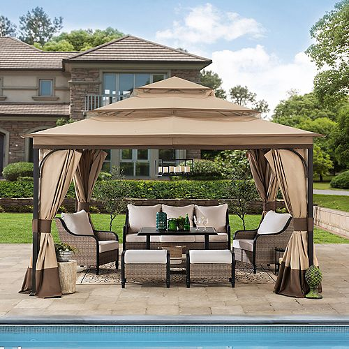 Bethlehem 12 ft. x 12 ft. Steel Gazebo with 3-Tier Tan and Brown Canopy