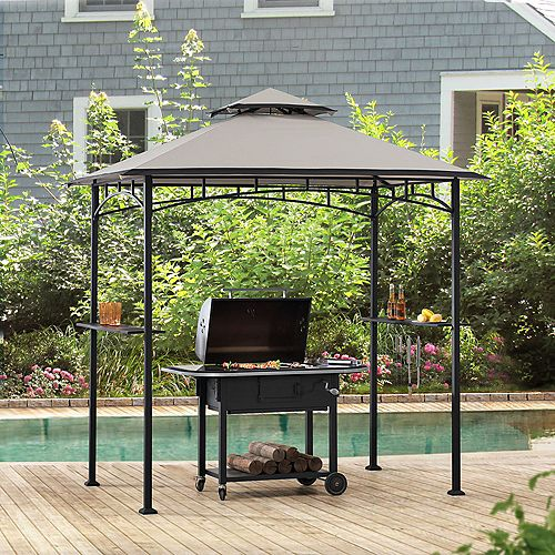 Marion 5 ft. x 8 ft. Black Steel 2-Tier Grill Gazebo with Gray and Black Canopy