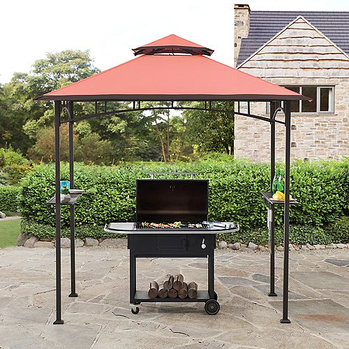 Jonas 5 ft. x 8 ft. Black Steel 2-Tier Grill Gazebo with Red Canopy