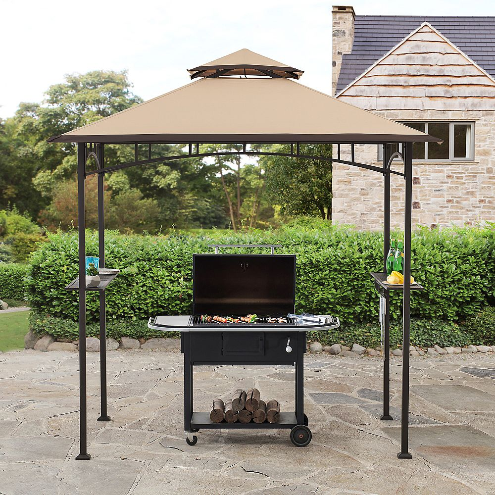 Sunjoy Deering 5 ft. x 8 ft. Brown Steel 2-Tier Grill Gazebo with Tan and Brown Canopy