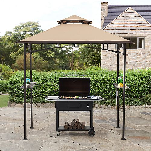 Deering 5 ft. x 8 ft. Brown Steel 2-Tier Grill Gazebo with Tan and Brown Canopy