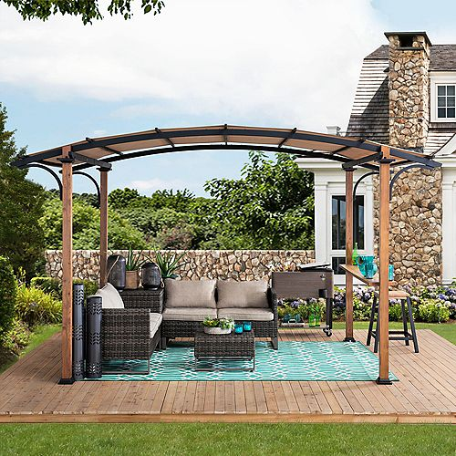 Alamo 10 ft. x 7.5 ft. Steel Arched Pergola with Natural Wood Looking and Tan Shade