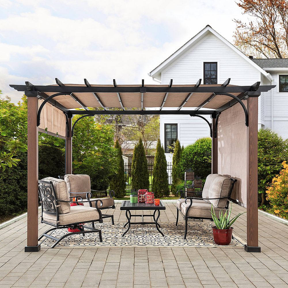 Sunjoy Neuralia 10 ft. x 10 ft. Steel Pergola with Natural Wood Looking Finish and Adjustable Tan Shade