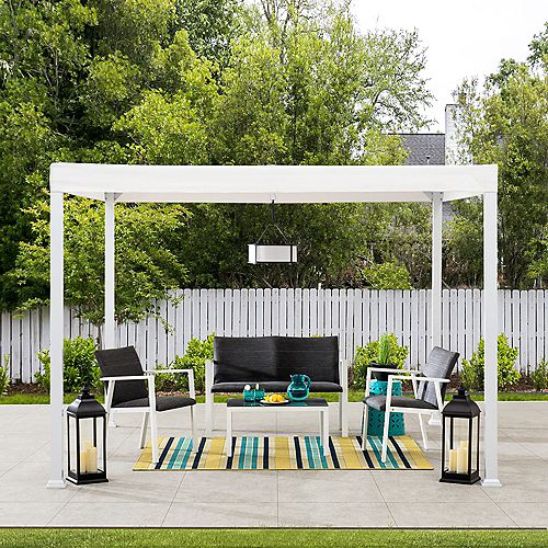 Sunjoy Melville 10 ft. x 10 ft. Modern White Steel Pergola with White Flat Top Canopy