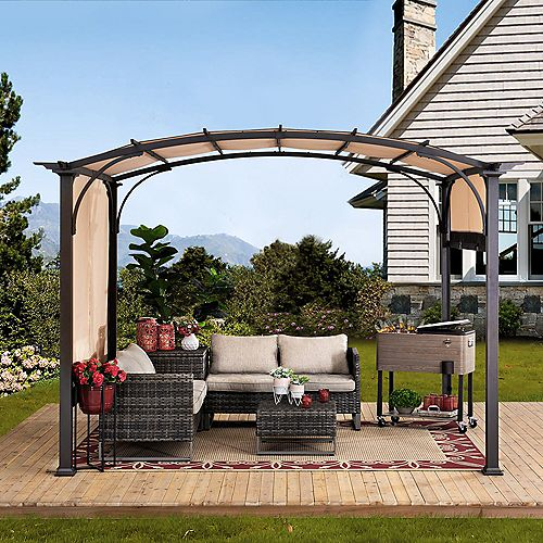 Sherman Oaks 10 ft. x 8 ft. Brown Steel Arched Pergola with 2-Tone Adjustable Shade