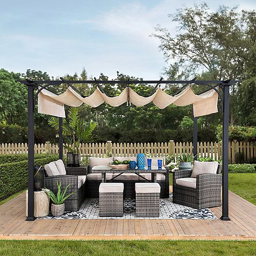 Lydia 10 ft. x 8 ft. Black Steel Classic Pergola with Adjustable Beige Shade