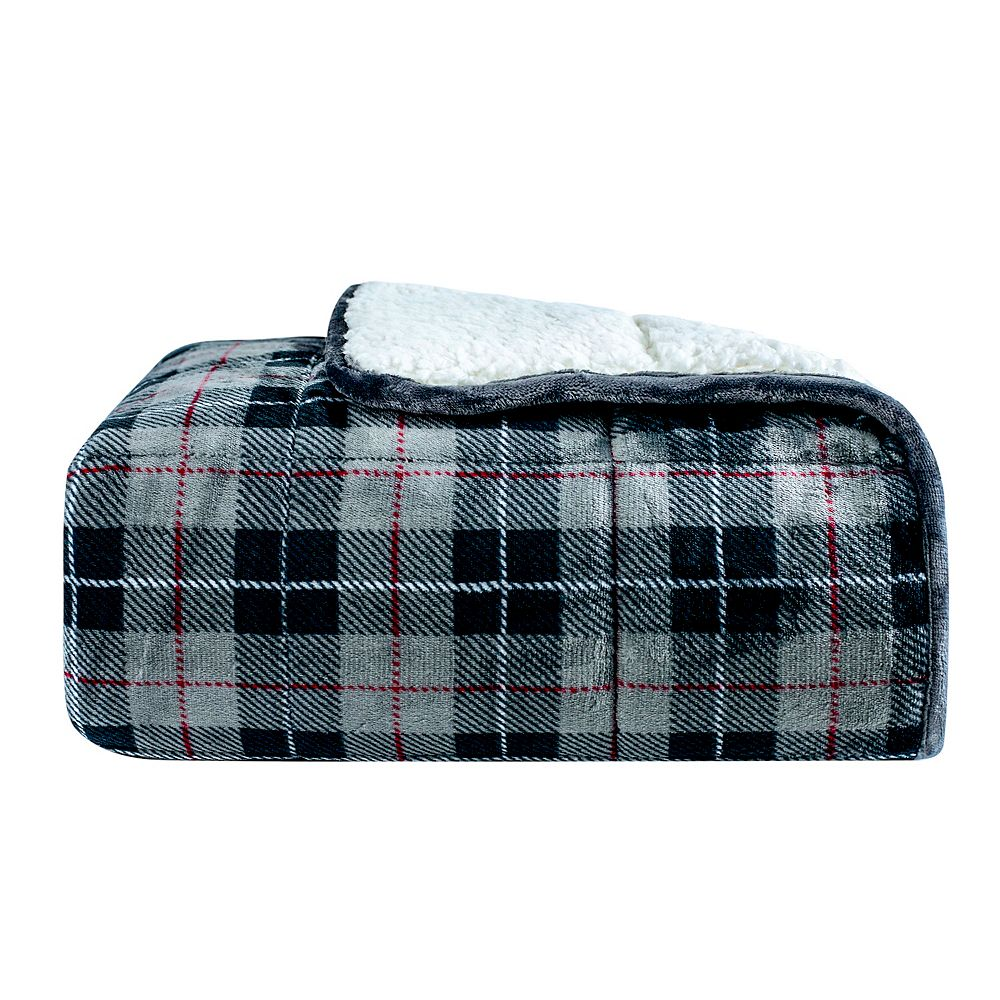 Dream Theory 10 lb Velvet to Sherpa Weighted Throw Blanket Grey Plaid