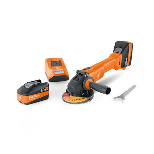 FEIN Cordless 4 1/2 Inch Angle Grinder Set With 5.2 Ah Batteries And Charger