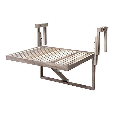 "TORONTO Acacia Balcony Railing Table, 28"" x 24"" Table, Organic White"