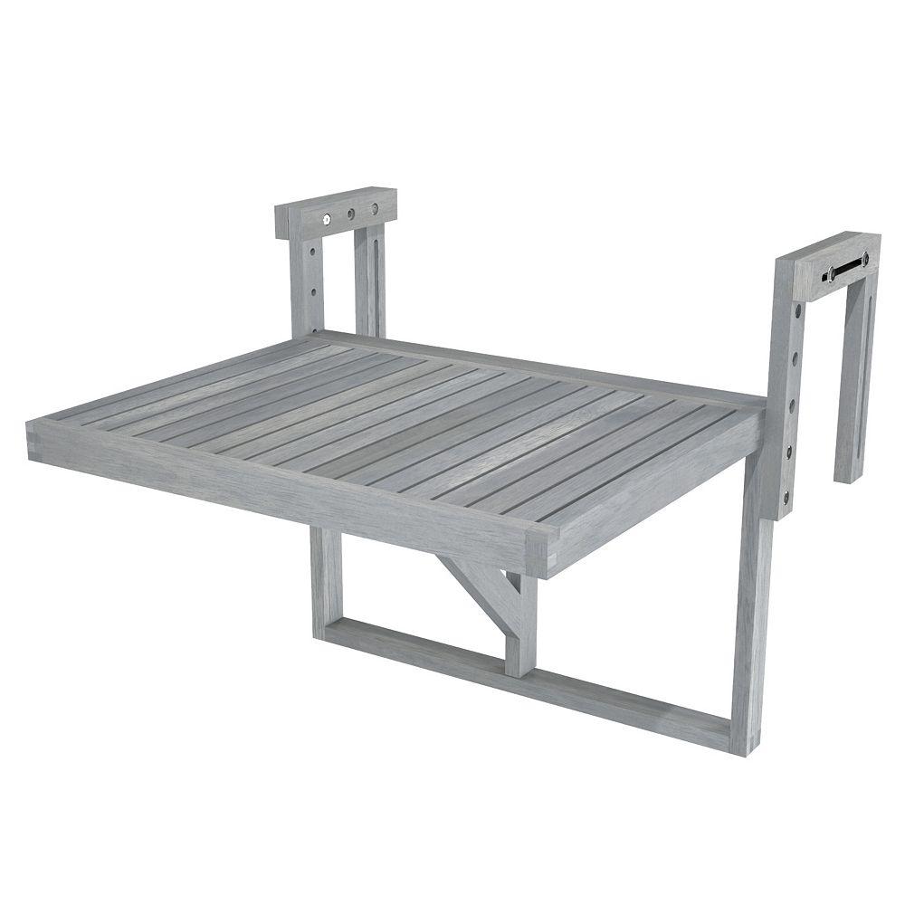 "INTERBUILD STOCKHOLM Acacia Balcony Railing Table, 24"" x 18"" Table, Dusk Grey"