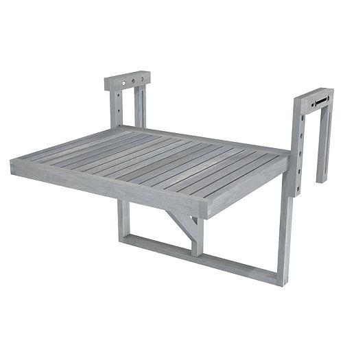 "STOCKHOLM Acacia Balcony Railing Table, 24"" x 18"" Table, Dusk Grey"