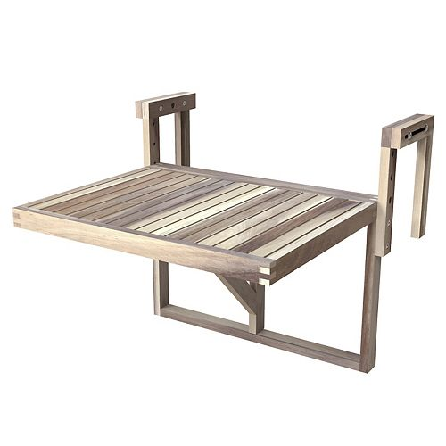 "STOCKHOLM Acacia Balcony Railing Table, 24"" x 18"" Table, Organic White"