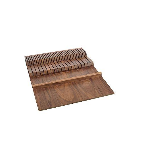 Rev-A-Shelf 18 1/2 in (470 mm) Wood Double Knife Block to insert in a drawer - Walnut