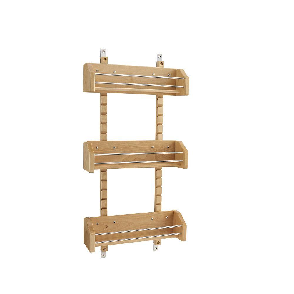 Rev-A-Shelf 13 1/8 in (333 mm) Door Mount Wood Spice Rack with 3 adjustable shelves - Maple
