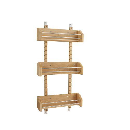 13 1/8 in (333 mm) Door Mount Wood Spice Rack with 3 adjustable shelves - Maple