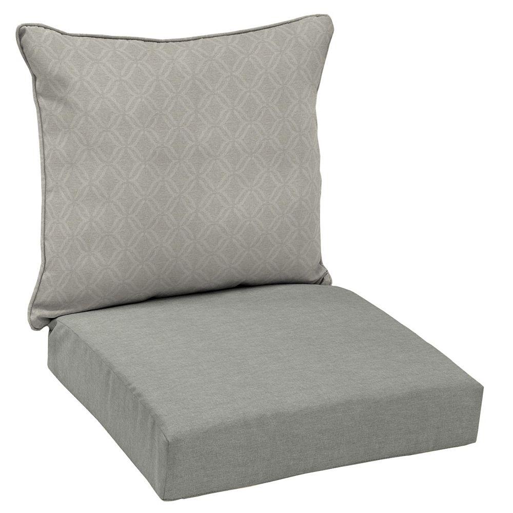 Hampton Bay Coussin pour chaise longue profonde dextérieur à deux pièces Shadow Gray CushionGuard