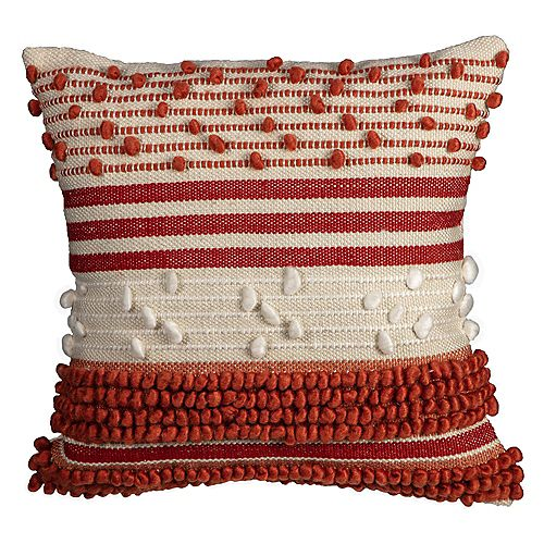 Fade-Resistant Outdoor Throw Pillow in Knot Stripe Chili Russet Pattern