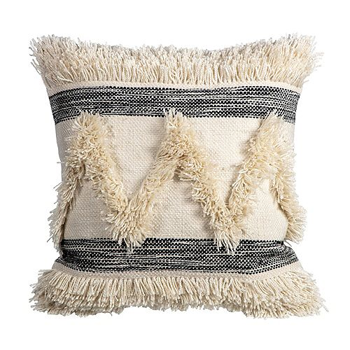 Fade-Resistant Outdoor Throw Pillow in Striped Fringe Pattern