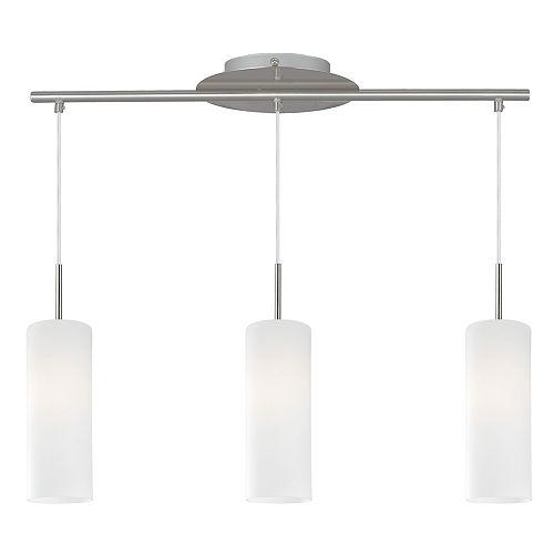 Cameron 3-Light Matte Nickel Finish Pendant Light with White Glass