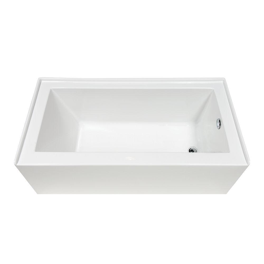 A&E Bath and Shower Annika 5-ft. Acrylic Rectangular Alcove Bathtub with Right Drain in White