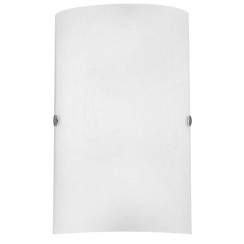 Cameron Wall Light, Matte Nickel Finish with White Glass