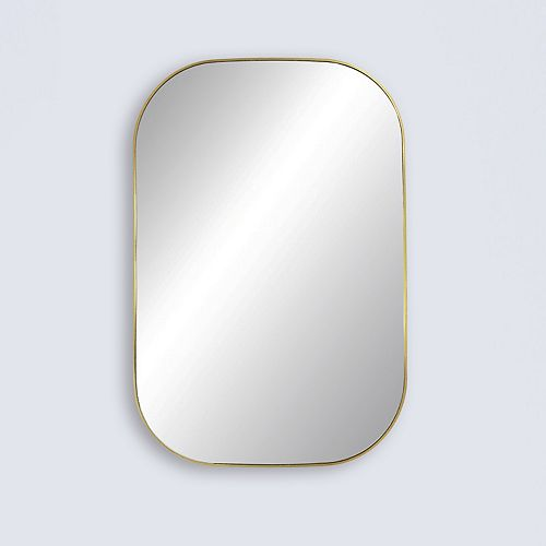 """Infinity, Gold Metal Vanity Mirror with Rounded Corners 24"""" x 36"""""""