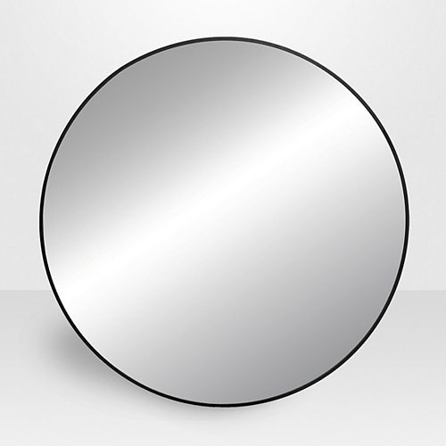 Infinity 31.5-inch x 31.5-inch Metal Round Mirror in Black