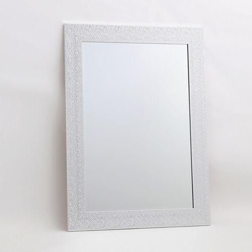 """Murano, White & Chrome Vanity Mirror, 30.5"""" x 42.5"""""""