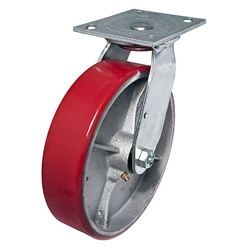 Heavy-Duty MoldOn Polyurethane Industrial Casters, Swivel Without Brake, Red